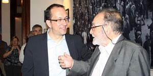 Anxo Lorenzo y Francisco Lores recorren la Federación de Sociedades Gallegas de Argentina.