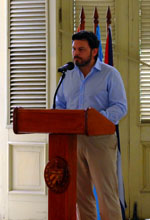 Antonio Rodríguez Miranda, durante su intervención ante los presidentes de entidades gallegas en el Centro Gallego de La Habana.