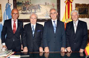 Aurelio Miras Portugal y Santiago Camba, tras la reunión con José López Carballedo y Juan Carlos Vázquez.