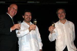 Sergio Toledo, Antonio Rodríguez Miranda y Juan Francisco Montalbán brindan tras la toma de posesión del primero.