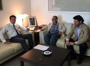 Alberto Núñez Feijóo, Francisco Lores y Antonio Rodríguez Miranda, durante la reunión.