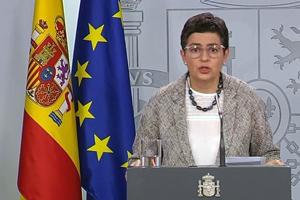 La ministra de Exteriores, Arancha González Laya, durante su comparecencia de esta tarde en La Moncloa.