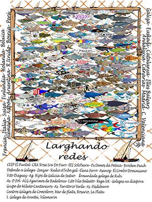 embaixada.gal creó un gran banco de sardinas en forma de cartel interactivo lleno de actividades.