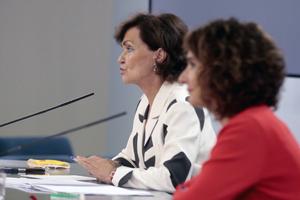 Carmen Calvo, durante la rueda de prensa posterior al Consejo de Ministros en el que se aprobó el anteproyecto.