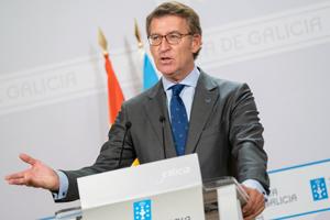 Alberto Núñez Feijóo, durante la rueda de prensa posterior a la reunión semanal del Consello de la Xunta.