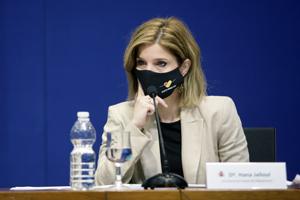 La secretaria de Estado de Migraciones, Hana Jalloul, durante la presentación de los presupuestos.